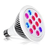 Indoor LED Grow Light Bulbs w/ Clamp Reflector (12W) Efficient Greenhouse Red & Blue Hydroponics Lighting | Produce Healthier Plants, Herbs, Flowers