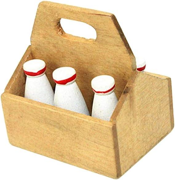 Casa De Muñecas = 3 realista de envases de leche y 9 vasos con leche