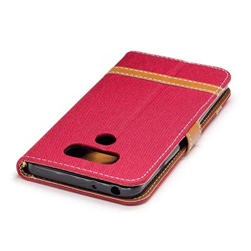 LG G6 Funda Verde, MEETER Libro PU Cuero Case Con Flip case cover, Cierre Magnético, Función de Soporte, Tarjeta y efectivo titular, Billetera con Tapa para LG G6, Color de Verde Rojo