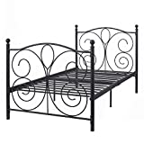 83''x43''x42'' Platform Black Steel Twin Size Bed Frame Solid Metal Foundation Furniture #640