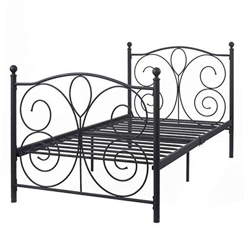 83''x43''x42'' Platform Black Steel Twin Size Bed Frame Solid Metal Foundation Furniture #640 by kooonlert Shop