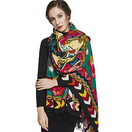 DANA XU 100% Pure Wool Women Winter Large Size Pashmina Travel Shawl (Green&Red) ()