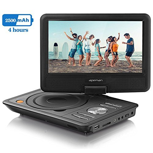 APEMAN 9.5' Portable DVD Player with Swivel Screen Built-in Rechargeable Battery SD Card and USB Supported Direct Play in...