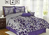7Pcs King Fresca Purple and Gray Bedding Comforter Review and Comparison