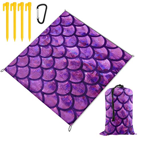 - Waterproof Picnic Mat Mermaid Scale Purple Traveling Quick Drying Picnic Mats Potable Outdoor Beach Blanket Foldable Picnic Blanket for Camping,Hiking,Festival,Beach,BBQ,Picnic 59 x 57 inch