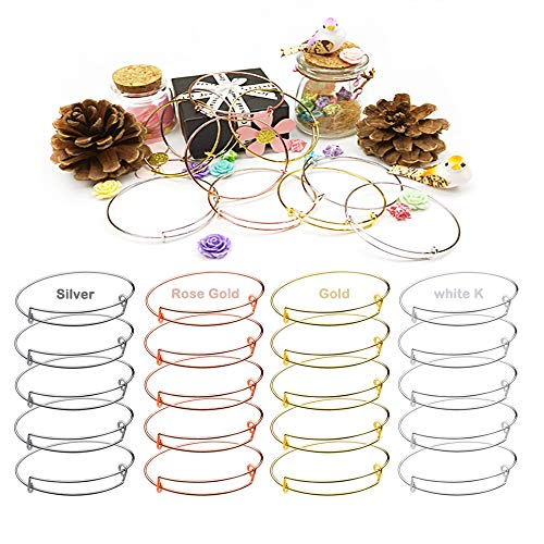 Expandable Bangle Set - 20 PCS Expandable Bangle Bracelet, Adjustable Wire Blank Bracelet Expandable Bangle for DIY Jewelry Making, White K, Silver, Gold and Rose Gold