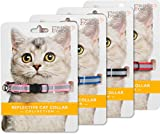 Friends Forever Breakaway Cat Collar - 4 Pack Fancy Reflective Cat Collars Breakaway with Bell - Pink Red Black Blue Adjustable Nylon