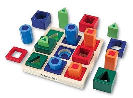 amazon com melissa doug shape sequence wooden sorting set and