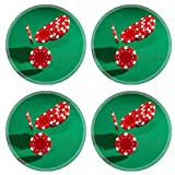 MSD Round Coasters Non-Slip Natural Rubber Desk Coasters design 19685858 Red poker chips closeup on green cloth