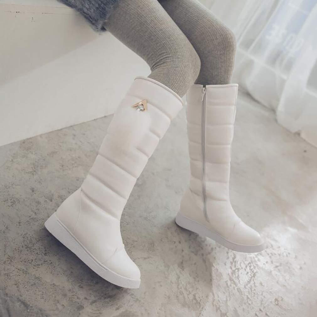Hy 2018 Frauen Stiefel Künstliche PU Plus Dicke Schneeschuhe Stiefel Damen Damen Stiefel Flache Stiefel/Student Warm Casual Hohe Stiefel/Outdoor Sports Stiefel (Farbe : Weiß, Größe : 37) - d9e059