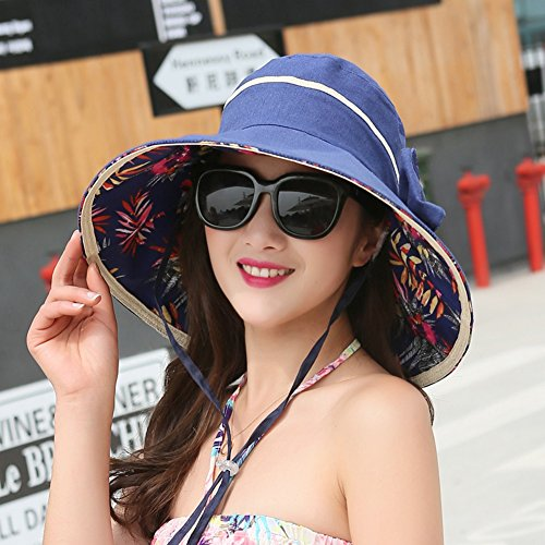 a41e4c12ed8 HAIPENG Wide Brimmed Double-sided Bowknot Sun Cap Summer Korean Style Female  Adjustable Outdoor