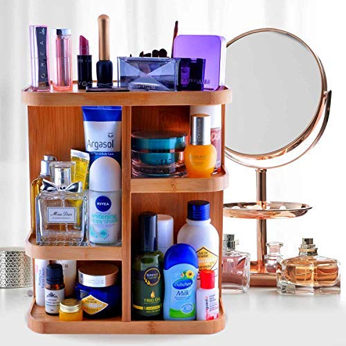 Refine 360 Bamboo Cosmetic Organizer, Multi-Function Storage Carousel for Your Vanity, Bathroom, Closet, Kitchen, Tabletop,countertop and Desk ()