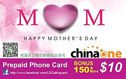 """China One """"Mother's Day Edition"""" Long Distance International Calling Card  $10 with bonus 150"""