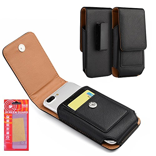 Galaxy S8 Plus Pouch Case Black Vertical Holster PU Leather Soft Swivel Belt Clip Card ID Holder Kaede [Screen Guard] For Samsung Galaxy S8 Plus