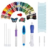 Magic Embroidery Pen, WELCOMY Embroidery Stitching Punch Needles Craft Tool Set Including 50 Color Threads for DIY Sewing Cross Stitching and Knitting Sewing Tool