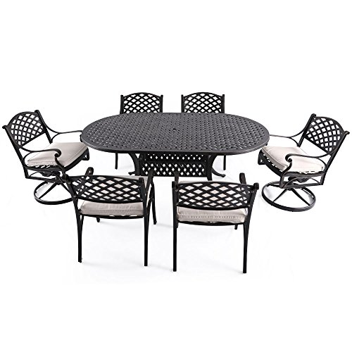 "Nuu Garden 7 Piece Outdoor Solid Cast Aluminum Patio Conversation Dining Set with 72"" x 42"" Oval Long Table, 4 Arm Chairs and 2 Swivel Rocking Chairs, Antique Bronze (oat cushions) SCD002-03 (Cast Aluminum Swivel Rocking Chair)"