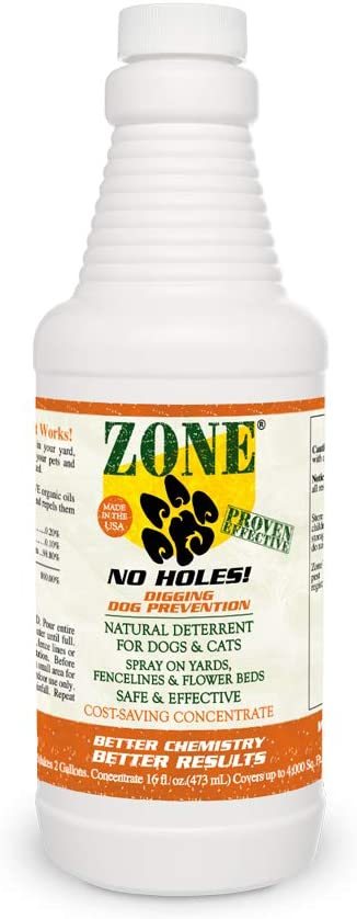 Zone Repellent No Holes! Digging Dog Prevention | Naturally Repels Pets That Dig Up or Destroy Yards |