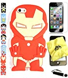 iphone 5 case iron man - Bukit Cell 3D Superhero Case Bundle - 4 items: IRONMAN Cute Soft Silicone Case for iPhone SE 5S 5 5G + BUKIT CELL Cloth + Screen Protector + METALLIC Stylus Touch Pen