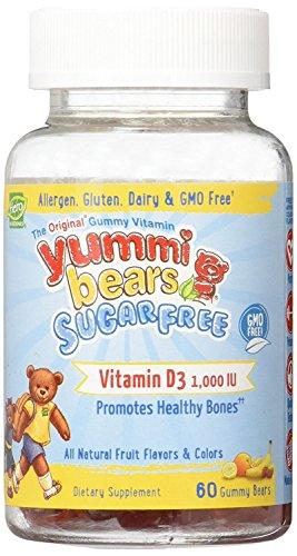 Yummi Bears Sugar Free Vitamin D3 Gummy Vitamin Supplement for Kids, 60 Gummy Bears