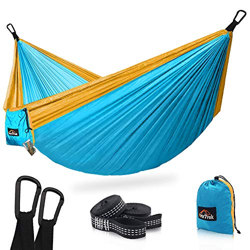 - AnorTrek Camping Hammock, Super Lightweight Portable Parachute Hammock with Two Tree Straps (Each Two Loops), Single & Double Nylon Hammock for Camping Backpacking Travel Hiking (Blue&Yellow)