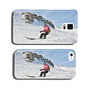 Extreme freestyle ski jump with young girl at mountain cell phone cover case Samsung S6