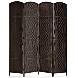 Rose Home Fashion RHF 6 ft.Tall-15.7' Wide Diamond Weave Fiber 4 Panels Room Divider/4 Panels Screen Folding Privacy Partition Wall Room Divider Freestanding 4 Panel Dark Coffee