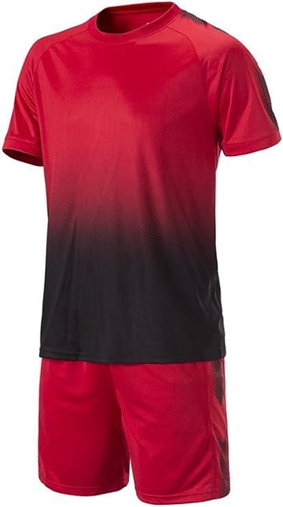 XFentech Hombres Niño Verano Ropa de Fútbol Traje de Camiseta y Pantalones Cortos Entrenamiento Competencia Ropa de Deporte Conjunto, Rojo/30: Amazon.es: Ropa y accesorios