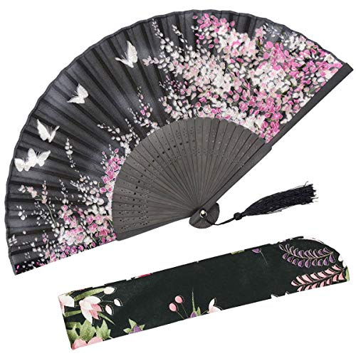 OMyTea Folding Hand Held Fan for Women Sakura Chinese/Japanese Vintage Retro Style - with a Fabric Sleeve for Protection (WZS-Black)