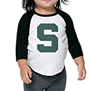 Kid's Michigan State Logo Toddler Boy's Girl's 3/4 Sleeves Blended T-Shirt 100% Cotton 2 Toddler