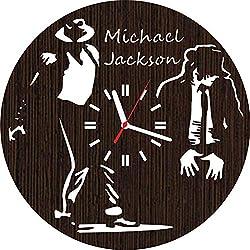 Handmade Wooden Wall Clock Michael Jackson Gifts for Men Women him her Music Lover Fan Musicians Merchandise Guitarist Drummer cd Vinyl Birthday Christmas Office Accessories Items