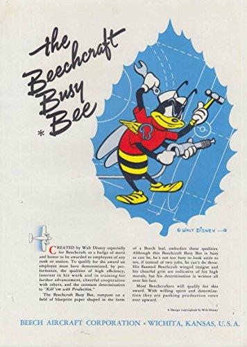 The Beechcraft Busy Bee by walt Disney Beech Aircraft ad (1942 Aircraft)