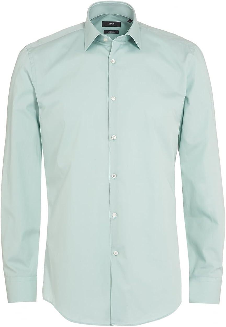BOSS Hugo Black Jenno Camisa para Hombre, Mint Green Slim Fit Camisa de Plain: Amazon.es: Ropa y accesorios