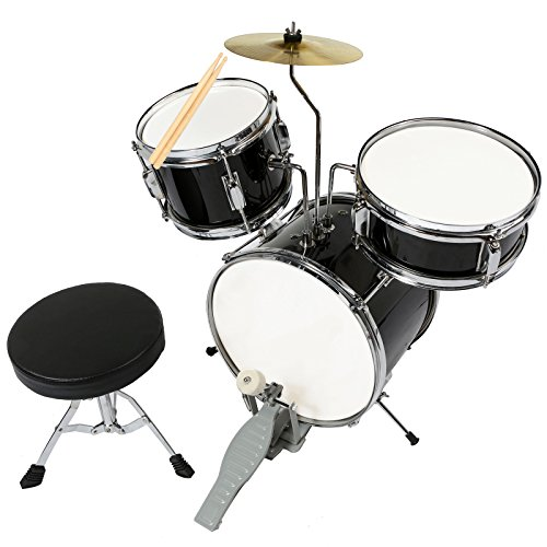 LAGRIMA Black Full Size 5 Piece Complete Adult Drum Set Cymbals with Stand,Hi-Hat ,Drum Stool ,Drum Sticks