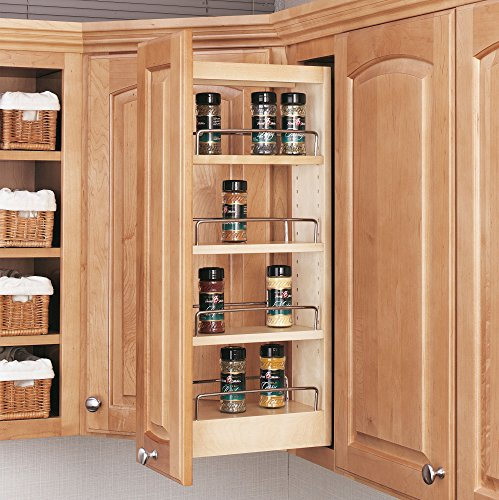 Rev-A-Shelf - 448-WC-5C - 5 in. Pull-Out Wood Wall Cabinet Organizer ()