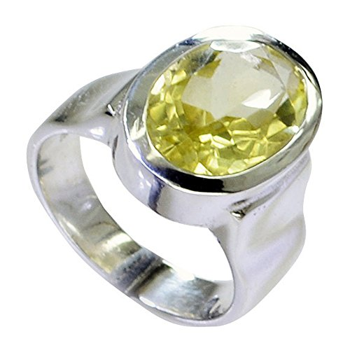 Ring Silver Sterling Lemon Quartz - 55Carat Oval Shape Natural Lemon Quartz Sterling Silver Ring for Men Bold Handmade Size 5,6,7,8,9,10,11,12