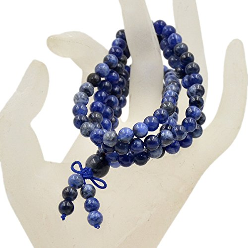 - AD Beads Natural Gemstones Buddhist 108 Prayer Healing Beads Mala Stretchy Bracelet Necklace 6mm (Sodalite)