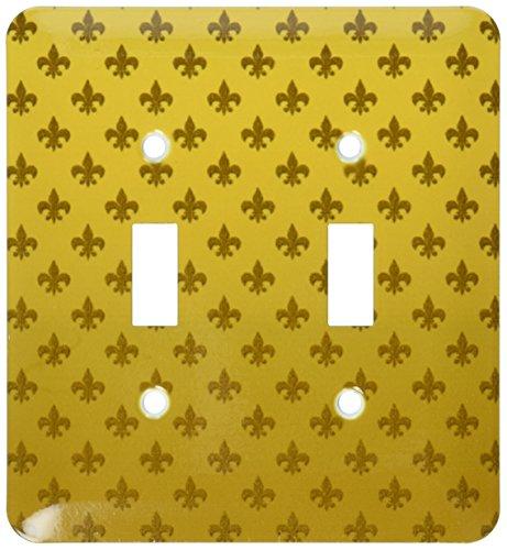 3dRose lsp_62951_2 Gold Fleur De Lis Pattern Double Toggle Switch