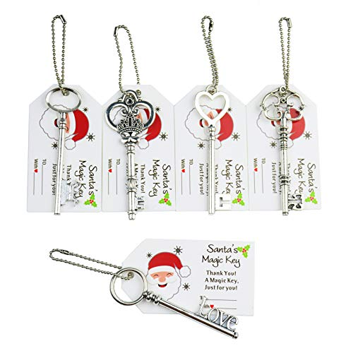 Makhry 50pcs Vintage Skeleton Charm Key Wedding Key with Gift Tag Keychain for Party Favor Necklace Pendants Jewelry Making Supplies Gift