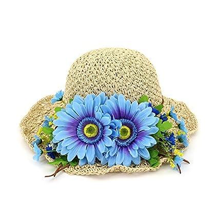 2e16879e9ba58 ALWLj Handmade Hook Weave Straw Sun Hats Women Ladies Large Flower Sweet  Beach Hat Wide Brim