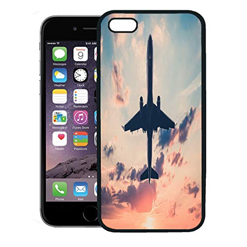 Semtomn Phone Case for iPhone 8 Plus case Cover,Pink Aviation Airplane on Sunset Sky Aircraft Jet Scenic Colorful Commercial,Rubber Border Protective Case,Black ()