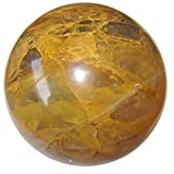 Satin Crystals Quartz Golden Ball Premium Burnt Orange Gemstone Sphere Smiles & Riches Manifestation Orb P05 (3.1 Inches)