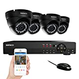 SANSCO Smart CCTV Security Camera System, 8-Channel 1080N DVR with 4x HD 1MP Outdoor Cameras (1280×720 Dome Cam, Rapid USB Storage Backup, Vandal Proof Body, Night Vision, Hard Drive NOT Included)