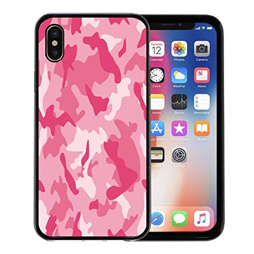 (Semtomn Phone Case for Apple iPhone Xs case,Camo Camouflage Series in The Pink Scheme Camoflage Pattern Army Retro for iPhone X Case,Rubber Border Protective Case,Black)