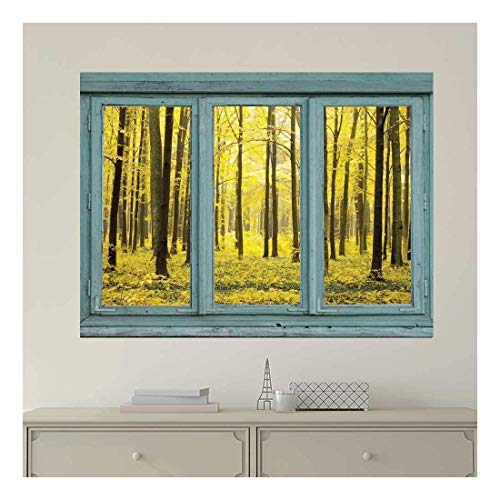 Vintage Teal Window Looking Out Into a Yellow Forest Wall Mural