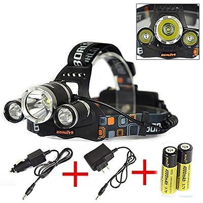 Boruit 6000LM 3x CREE XM-L T6 LED Headlamp Headlight Head Torch Light + 2* 18650