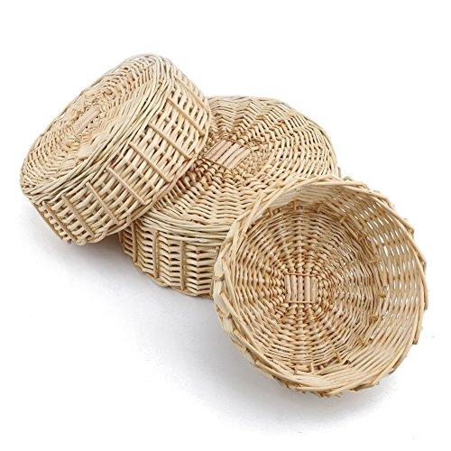 MEIEM Cheap Wicker Fruit Basket Bread Tray Storage Basket, Cheap Fruit bowl, Round Stackable Basket.(Set of 3)