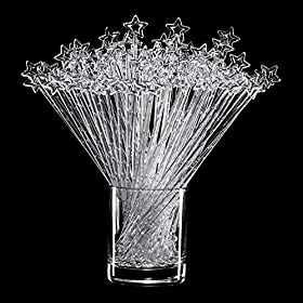 100 pieces 9.1 Inch Clear Star Top Swizzle Sticks Disposible Plastic Star Top Crystal Swizzle Sticks
