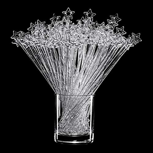 100 pieces 9.1 Inch Clear Star Top Swizzle Sticks Disposible Plastic Star Top Crystal Swizzle Sticks -