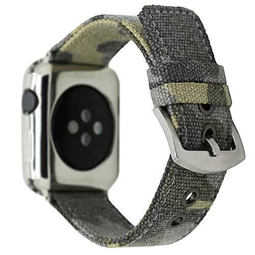 - CRAZY PANDA Soft Breathable Canvas Band for Apple Watch Band, Men/Women Cool Camo Sweatproof Canvas Strap Compatible Apple Watch - Distressed Camo Green (42mm/44mm)