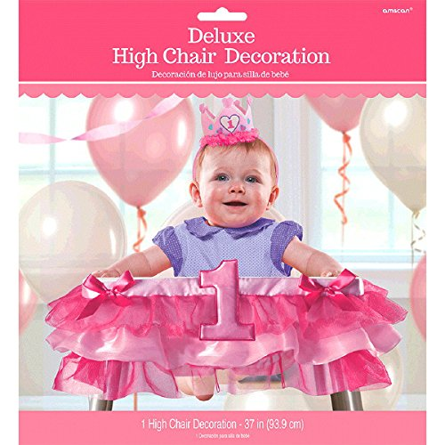 Amscan 1st Birthday Deluxe High Chair Decoration - Pink, 3 Ct.